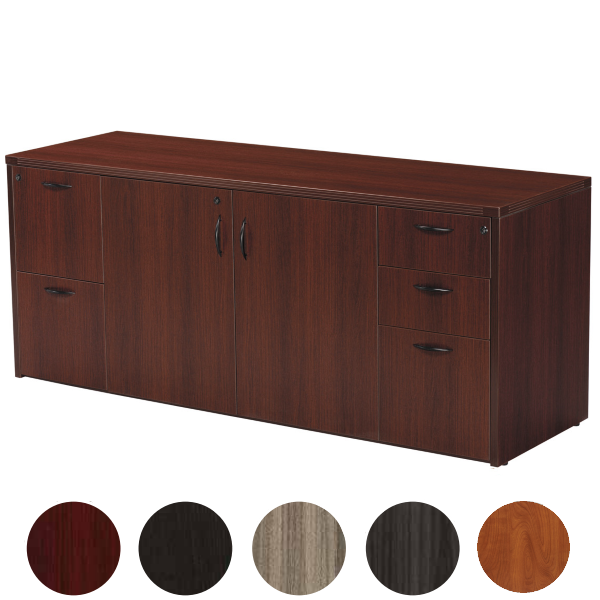 Mahogany Storage Credenza with Box and File Drawers