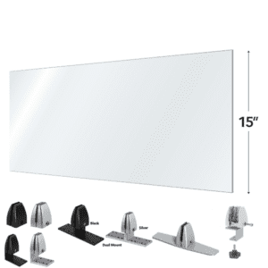 "3 Sizes - 42""W 48""W or 54""W x 15""H Clear Acrylic Desk Shield"