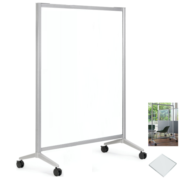 6'H x 4'W Mobile Clear Plexiglas Room Divider Barrier - AW Office
