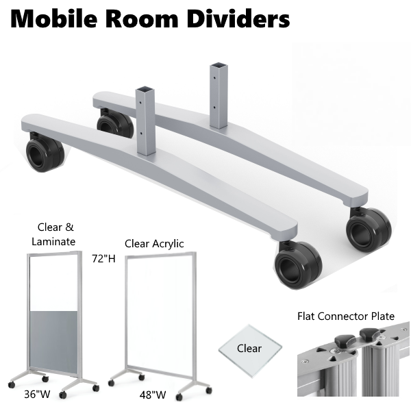 COE Mobile Room Dividers - Clear Plexiglas Office Panels 6' x 3' and 6' x 4' Sizes