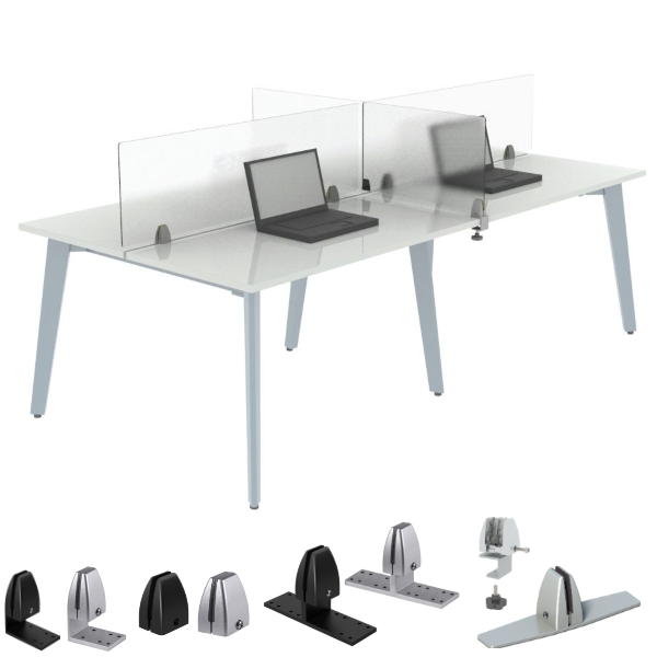 """15""""H Mounted Clear Shields for Office Desks and Workstations"""