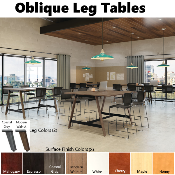 Office Source Wooden Oblique Leg Conference Table - Standing height Tables - Cafe or Conference Room