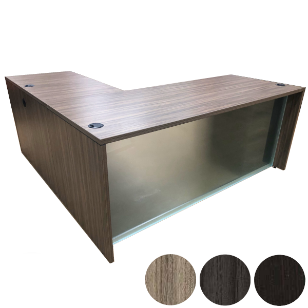 Napa Collection - Front Glass Modesty Panel L-Shaped Desk