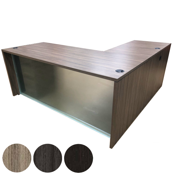 Napa Glass Front Modesty Panel L-Desk