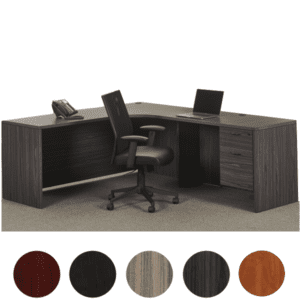 Napa Interior Curved L-Shape Desk - Slate Grey Finish Color