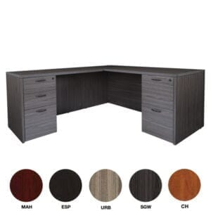 OSP Napa L-Shaped Desk with BBF & FF Pedestals - Slate Grey Finish