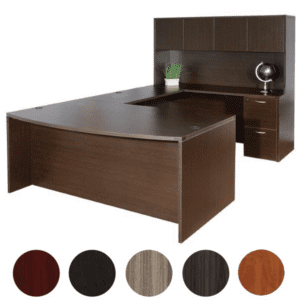 Napa Bow Front U-Shape Executive Desk & Hutch Set - Espresso Finish