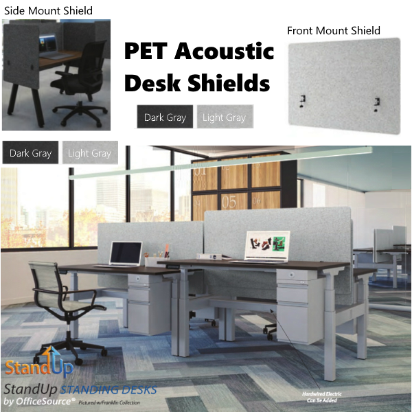PET Desk Mount Shields - Light or Dark Gray
