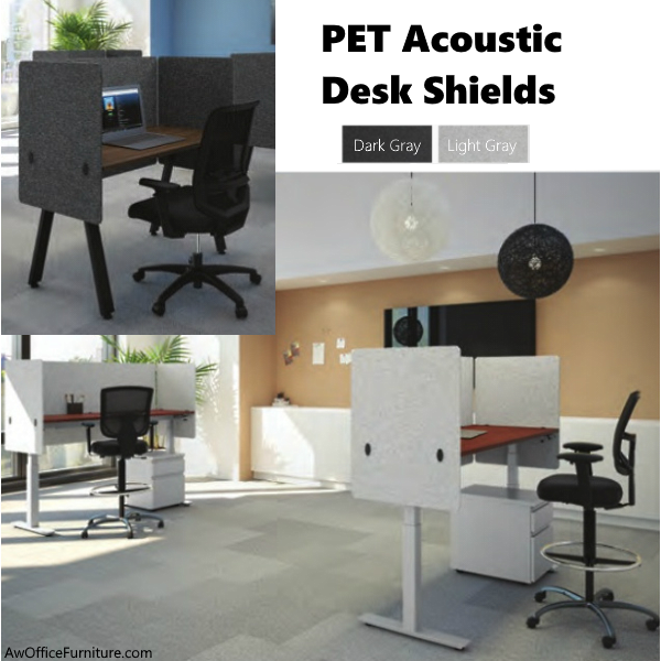 Desk Mount PET Acoustic Shields - Light or Dark Gray