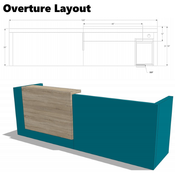 Overture 10'W Reception Desk with Stack Counter