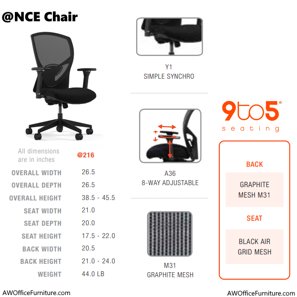 At Once Mesh Back Task Chair - @NCE205 Chair