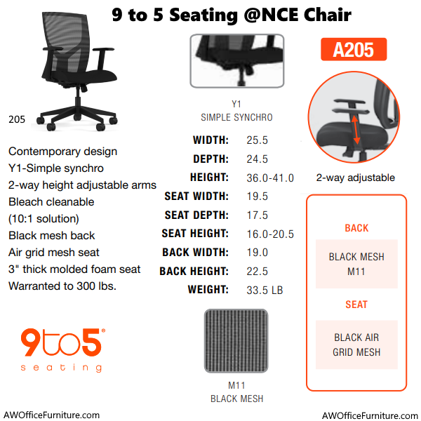 9to5 Seating At Once 205 Task Chair Spec