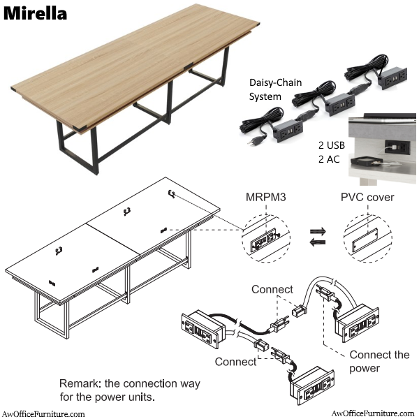 12' Mirella Standing Conference Table Electrical Map