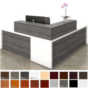 "Deskmakers Overture 84""W Reception Desk with L-Shaped Counter"