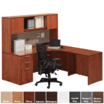 PL182 with PL144OH and PL44LD Cherry Desk & Hutch Set
