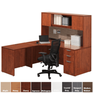 PL182L-CH Interior Curve Credenza Desk and Hutch Set