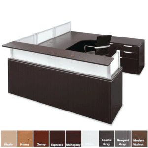 Dual Interior U Shaped Reception Desk - Straight Front Counter