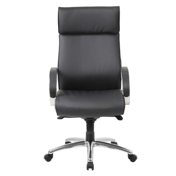 Curved Armrests High Back Executive Chair in Black Leather