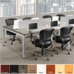 Facing Workstations with Frosted Acrylic Screens - 4 Person Workstation - Modern Walnut finish