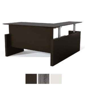 Electric Height Adjustable Sit to Stand L-Shaped Desk with Modesty Panel