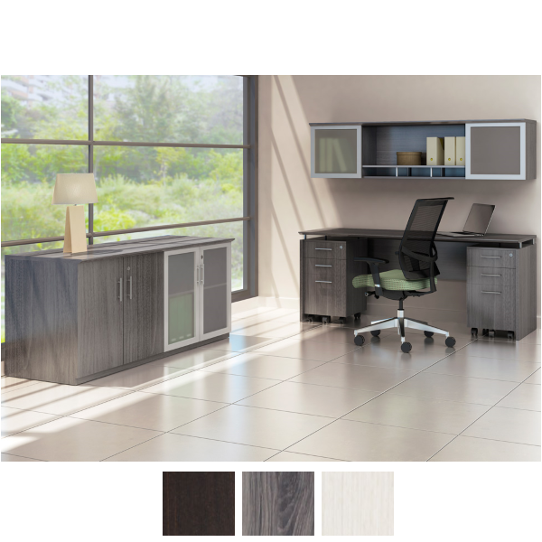 Medina Series Storage Cabinet, Credenza, Mobile Peds and Wall Hutch