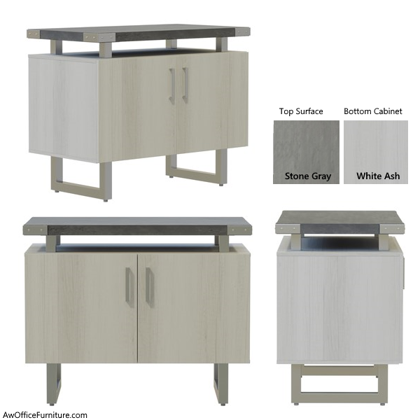 Stone Gray White Ash Two Door Storage Cabinet - AW Office Furniture