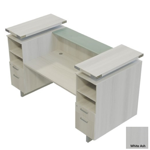 White Ash Reception Desk with Glass Top Counter