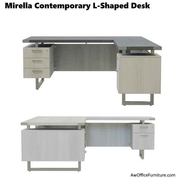 Safco Mirella L-Desk - Left or Right-Handed Models