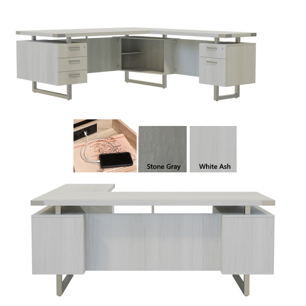 Mirella Step Front Executive L-Shaped Desk