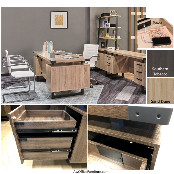 Mirella Series Desk Storage and Black Accents