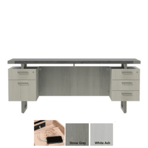 Stone Gray Credenza with White Ash Base