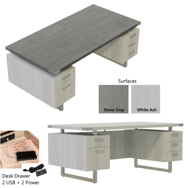 Stone Gray & White Ash Executive Desk with Charging Ports