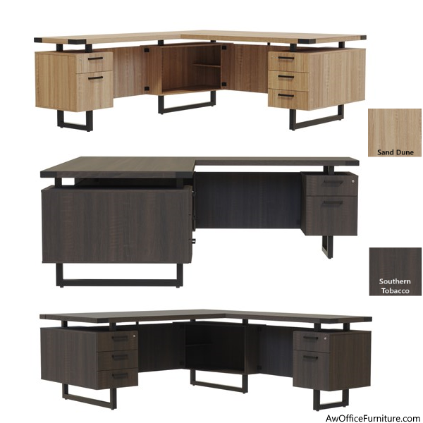L Desks in Mirella Series - Southern Tobacco and Sand Dune Finishes