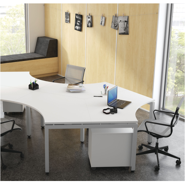 120° Workstation with Mobile Pedestal and All Mesh Task Chair
