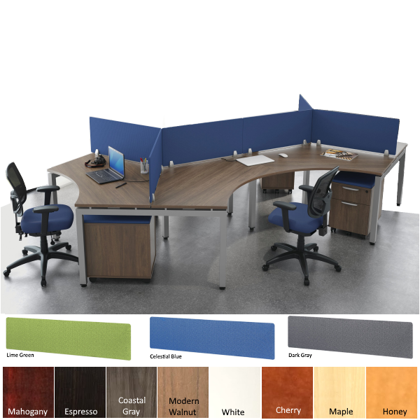 6 Person Workstation with Privacy Screens - Modular Workstations - Open Plan Workstation