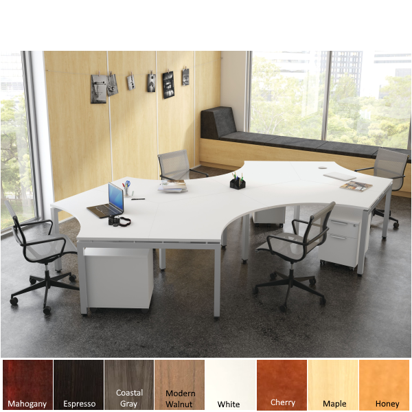 6 Benching Workstations - Steel Base - White Surfaces