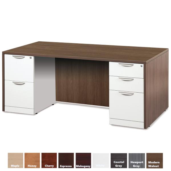 PL Double Full Pedestal Desk | 3 Sizes