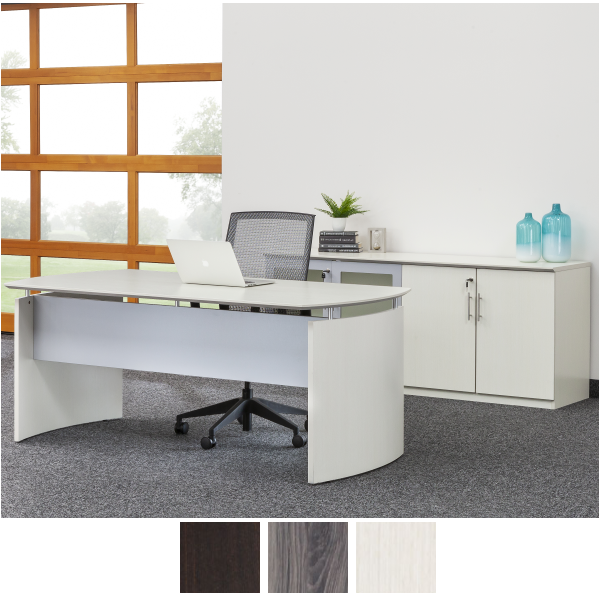 Curved End Panel Modern Desk with Storage Cabinet