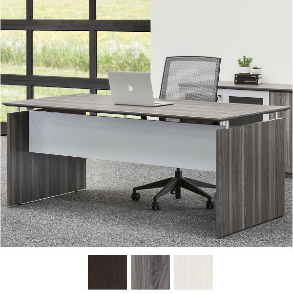 Straight Executive Desk with Modesty Panel and End Panels