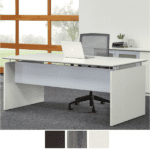 Textured Sea Salt Straight Desk with Modesty Panel and End Panels