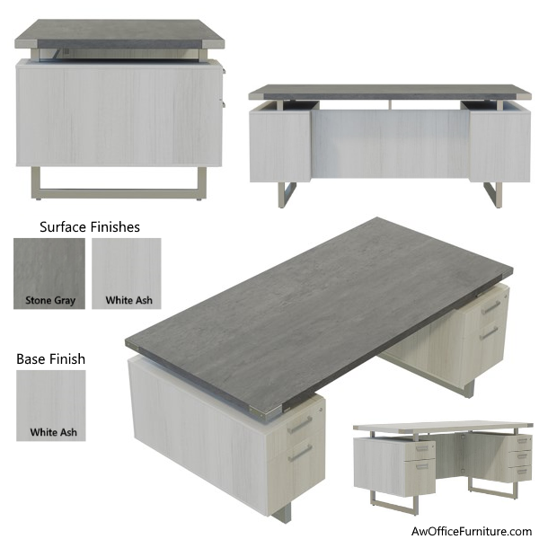 White Ash & Stone Gray Surfaces - Double Pedestal Desk
