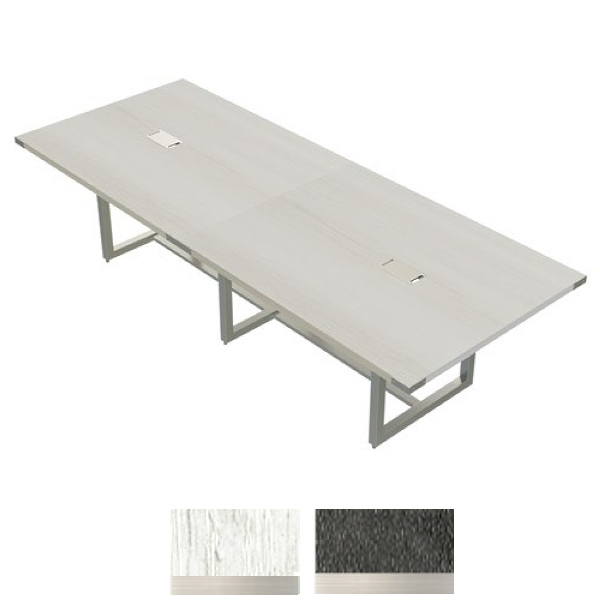 """White Ash Finish - 120"""" Conference Table with Steel Base"""
