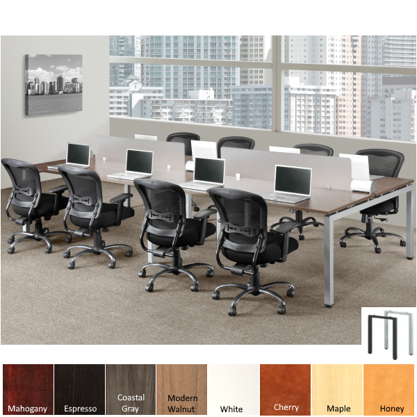 Open Plan Workstations with Frosted Privacy Work Divider Screens