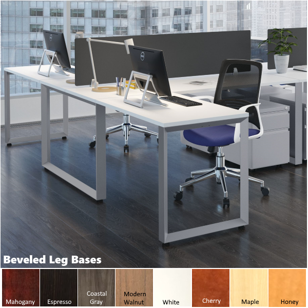 Bevel Leg Steel Leg Workstations with Fabric Screens
