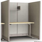 """4' x 3' Cubicle - 67"""" Tall with Height Adjustable Desk"""