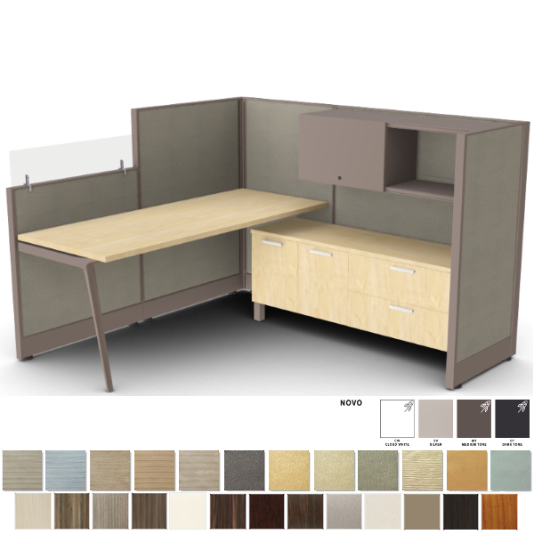 """53""""H Privacy Cubicle with Glass Mount Screen"""
