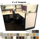 6' x 6' Footprint - Workstations with Glass Panels