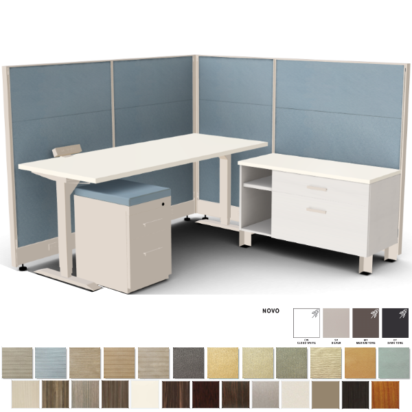 height adjustable desk with cubicles