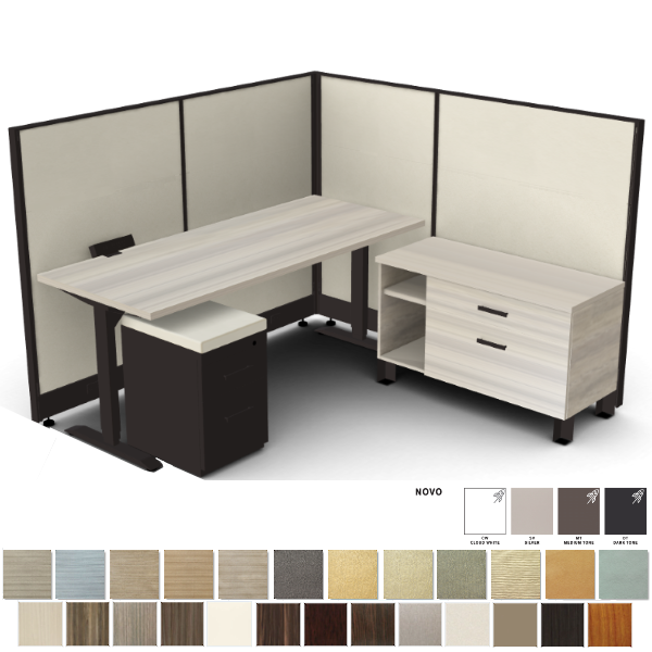 cubicle with height adjustable desk
