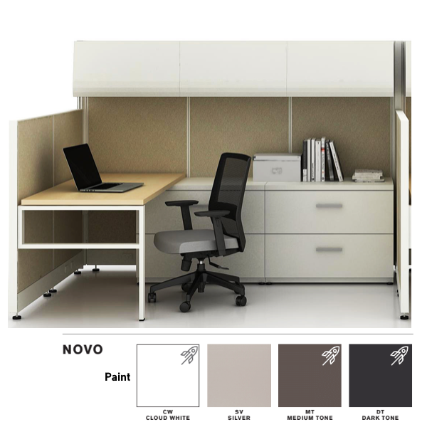 Novo Single Accounting Workstation Cubicle with Overhead Storage Cabinets